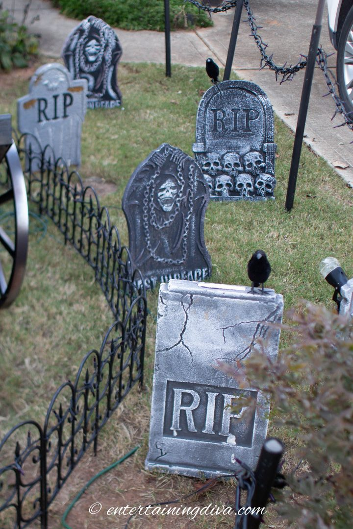 Halloween graveyard made with tombstones in the yard