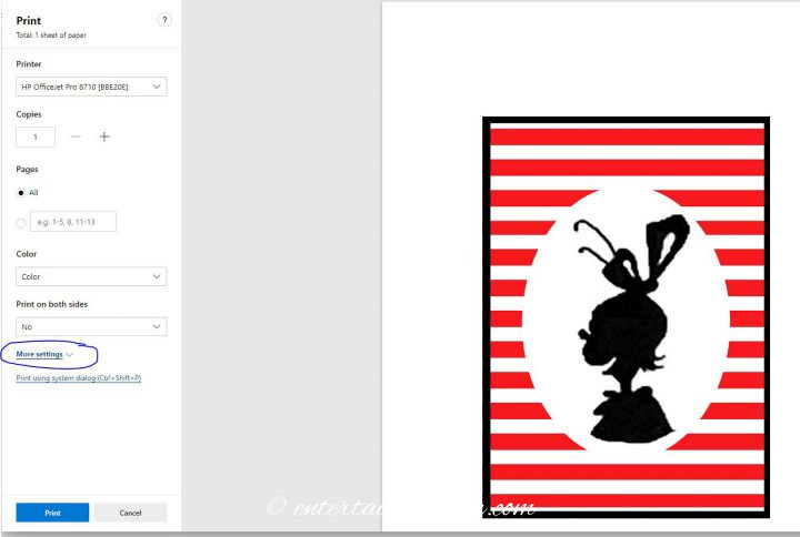The print settings for the DIY Grinch printable silhouette pictures