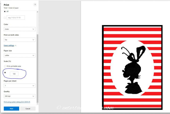 How to make the DIY Grinch silhouette pictures print at the right size