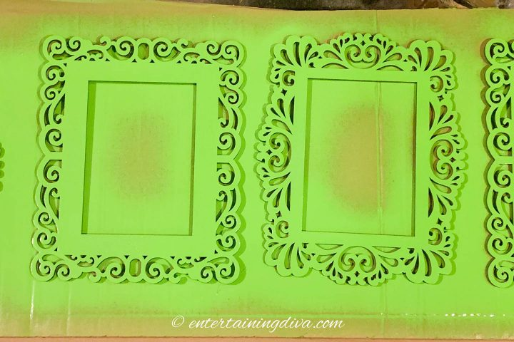 Wood frames spray painted green