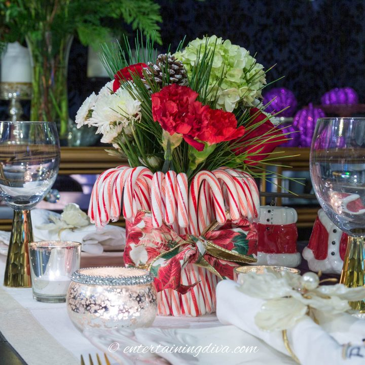 DIY Christmas centerpiece made with candy canes and flowers