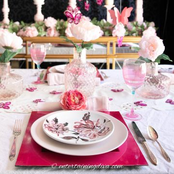 Pink flowers and butterflies table setting