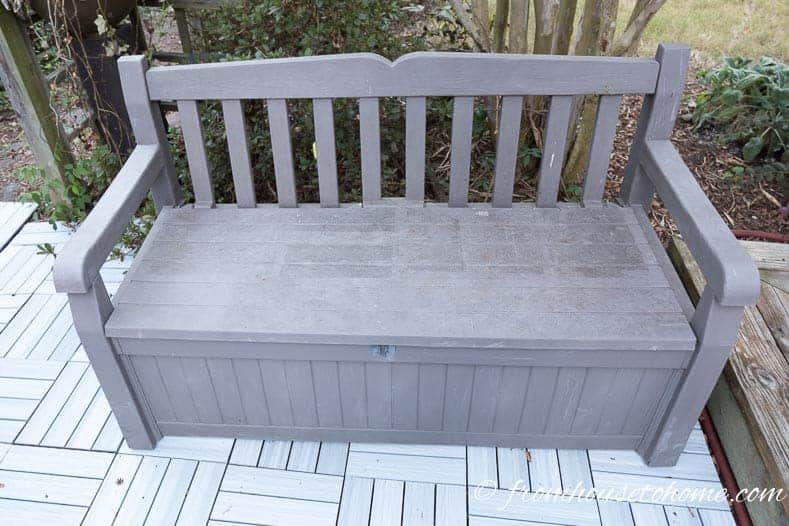 Storage bench on an outdoor patio