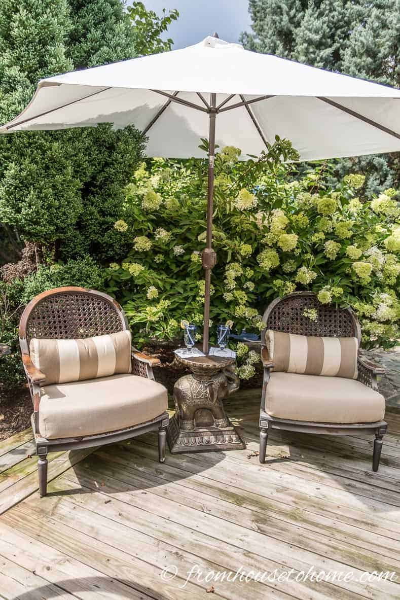 Surround a small patio with plants to make it feel intentionally romantic