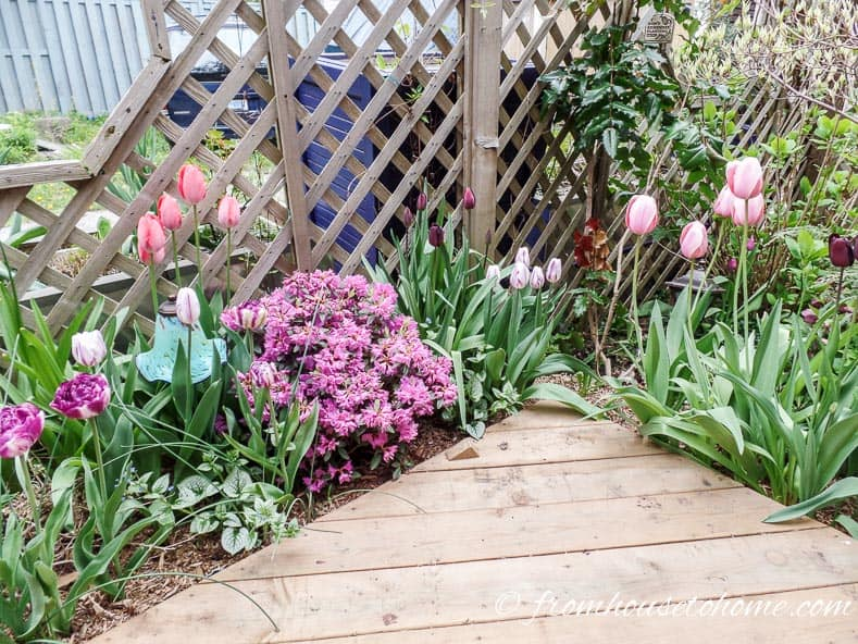 Planting a flower bed around the edges of a small deck makes it seem larger