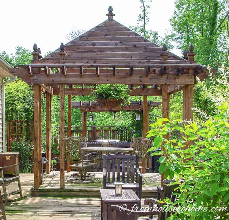 Open air gazebo providing backyard shade