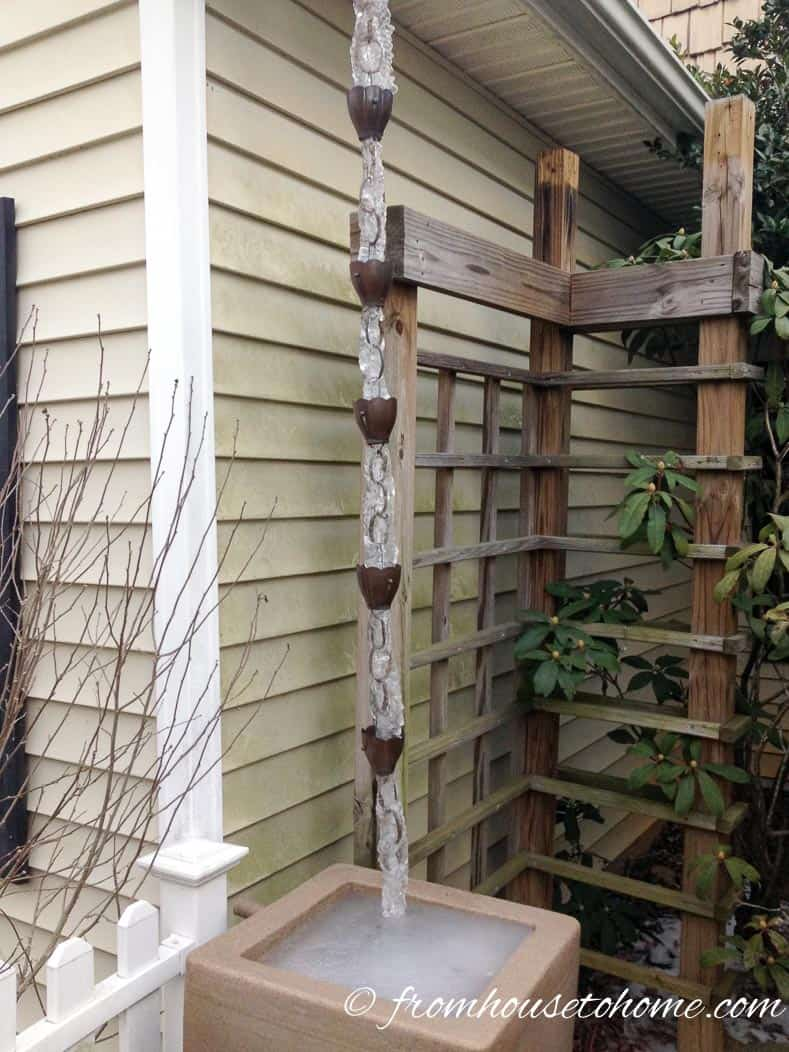 Rain chains even look good in the winter   The What, Why, Where and How of Rain Chains