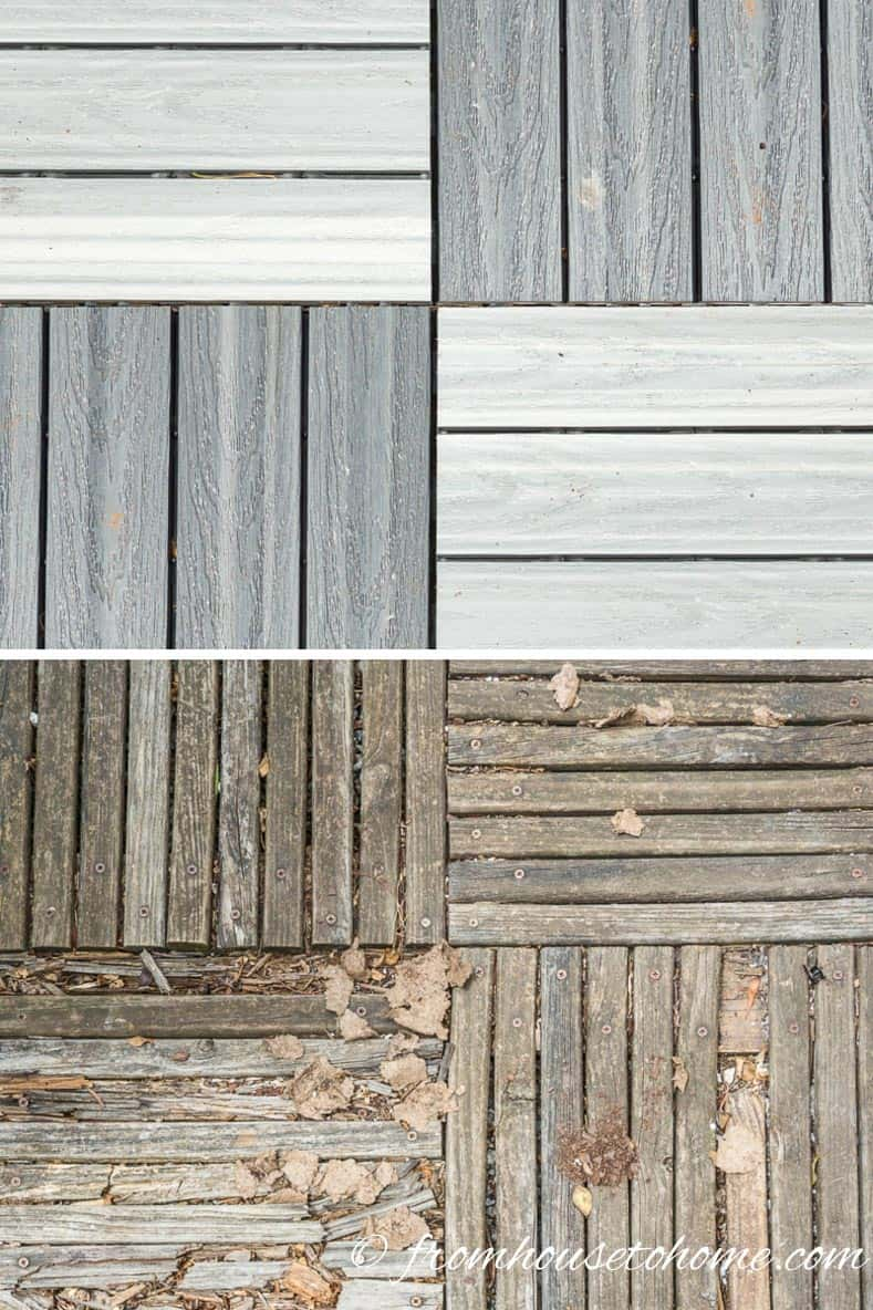 Man made deck tiles are more durable than wood | 10 Tips For Creating A Low Maintenance Garden