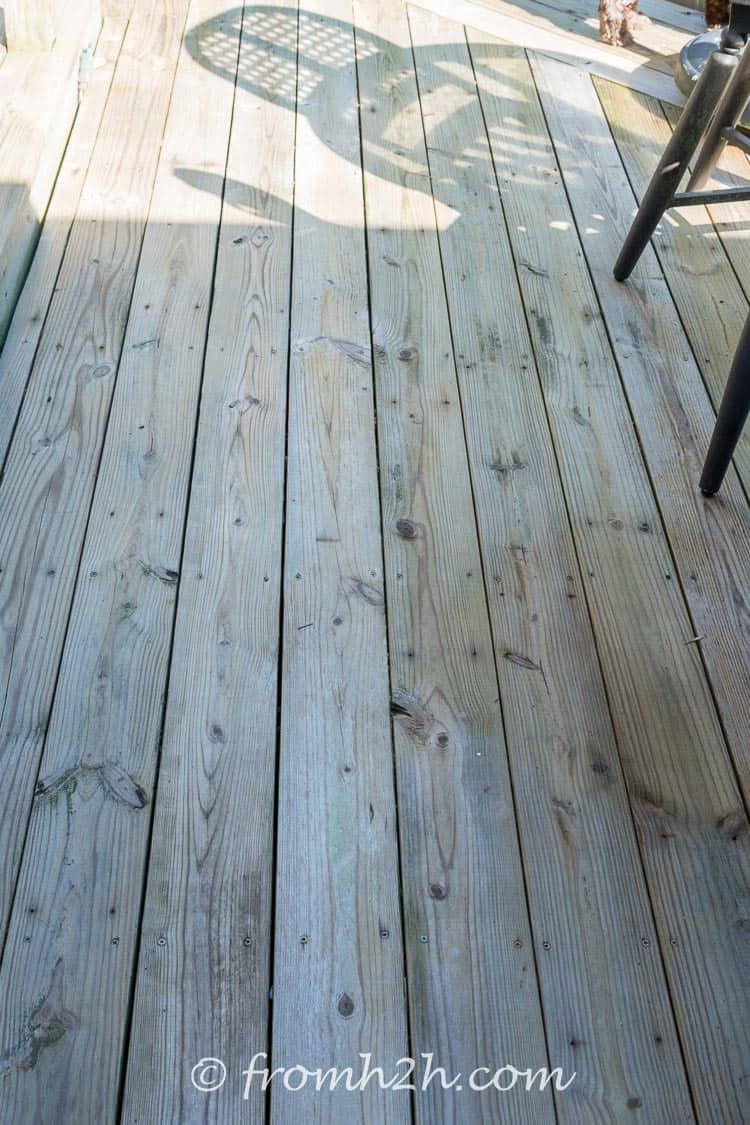 The Deck after using the best (inexpensive and eco-friendly) homemade deck cleaner ever!