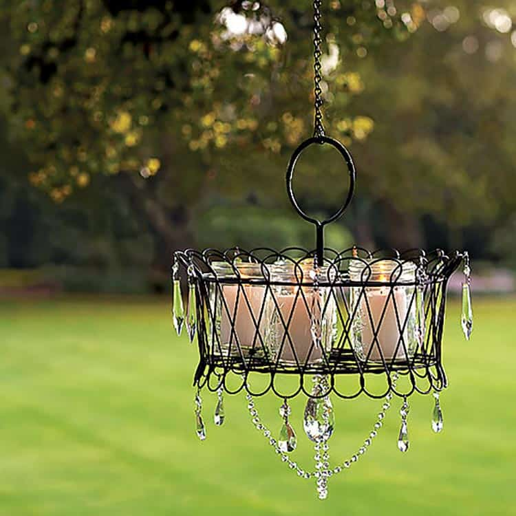 DIY outdoor chandelier, via sunset.com | 10 Beautiful Ways To Light Your Garden