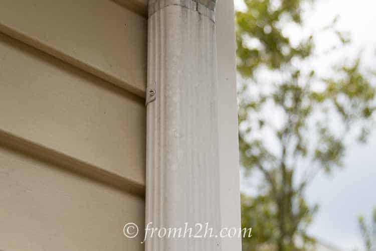 Remove the screws from the downspout