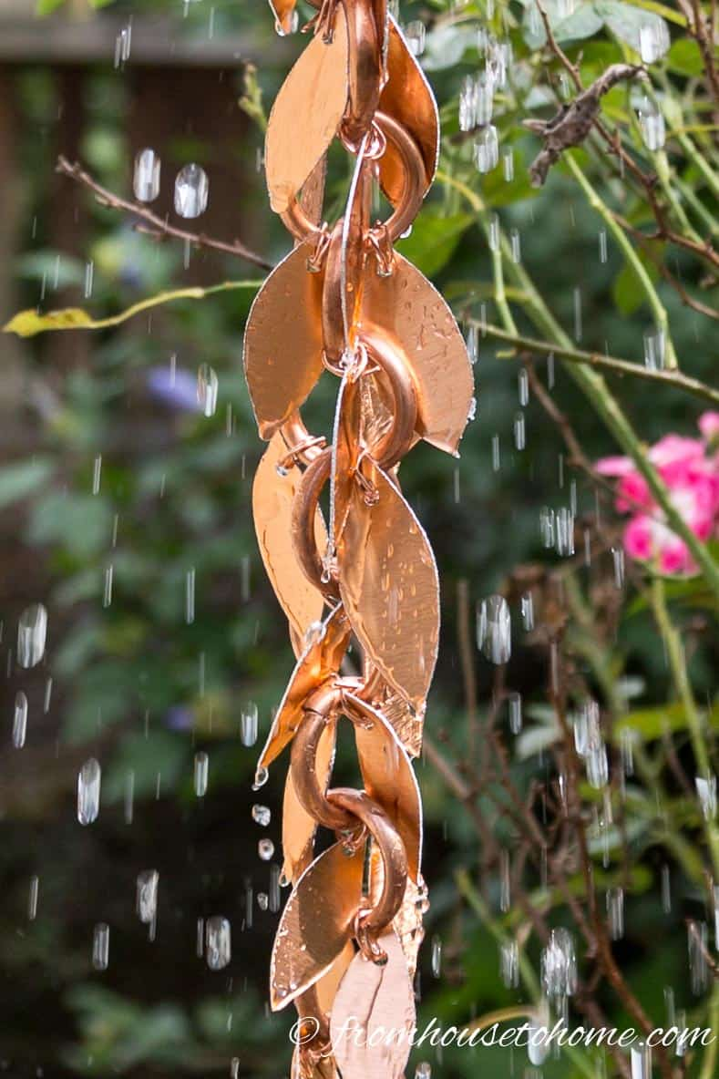 Rain chain with leaves and water running down