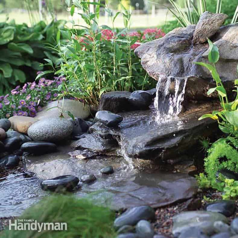 A home-made waterfall via The Family Handyman