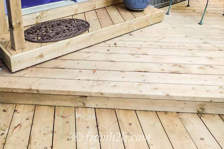 Each level of the steps has the boards installed in different directions | How To Create a Relaxing Deck