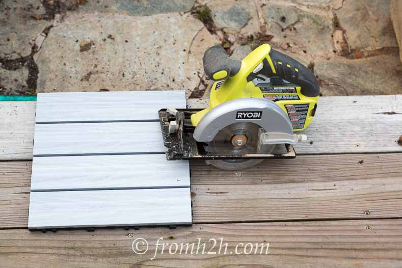 A cordless circular saw works well for cutting the tiles