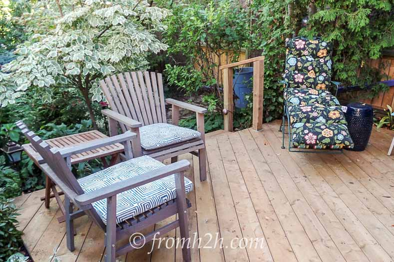 The third side of the deck has more established plants | How To Create a Relaxing Deck