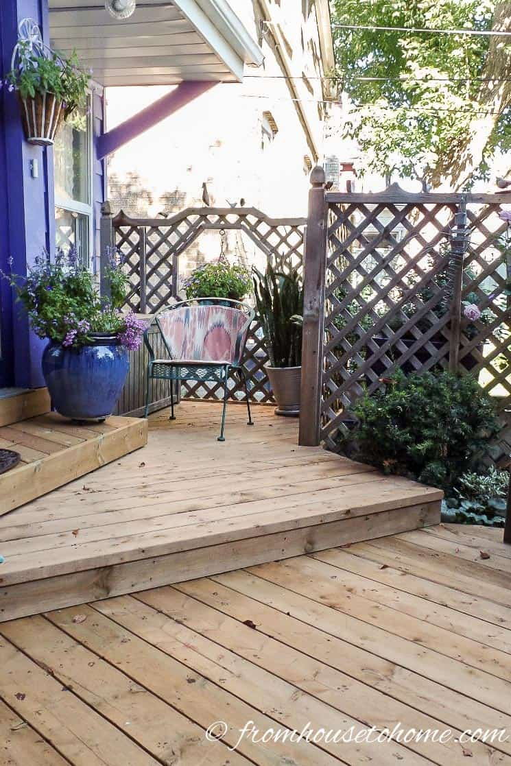 The wide steps make you feel like you can take your time | How To Create a Relaxing Deck