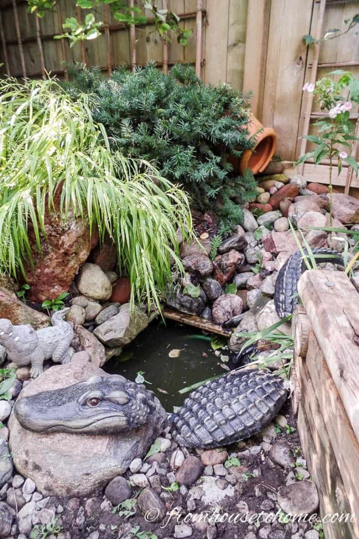Small water feature pond in the garden