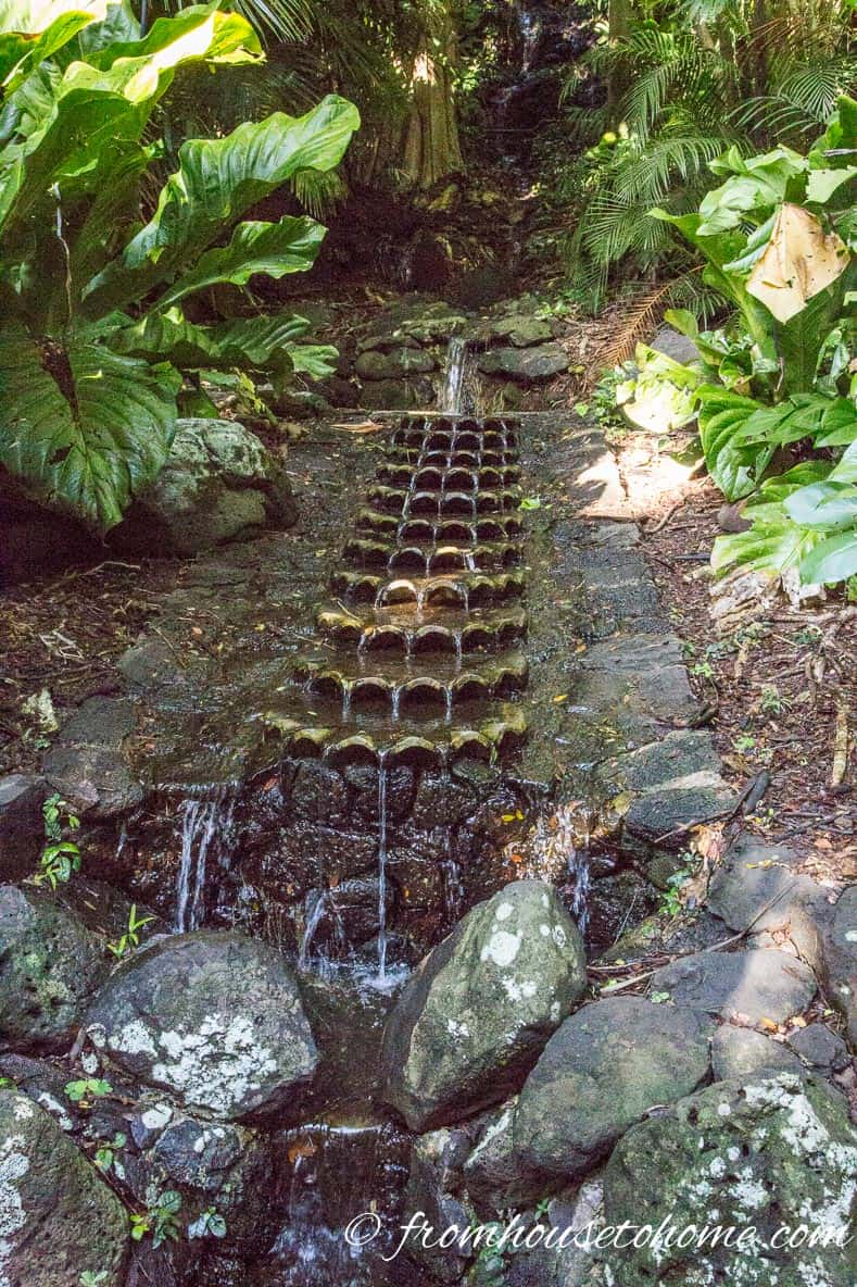 An architectural water fountain is a form of garden art