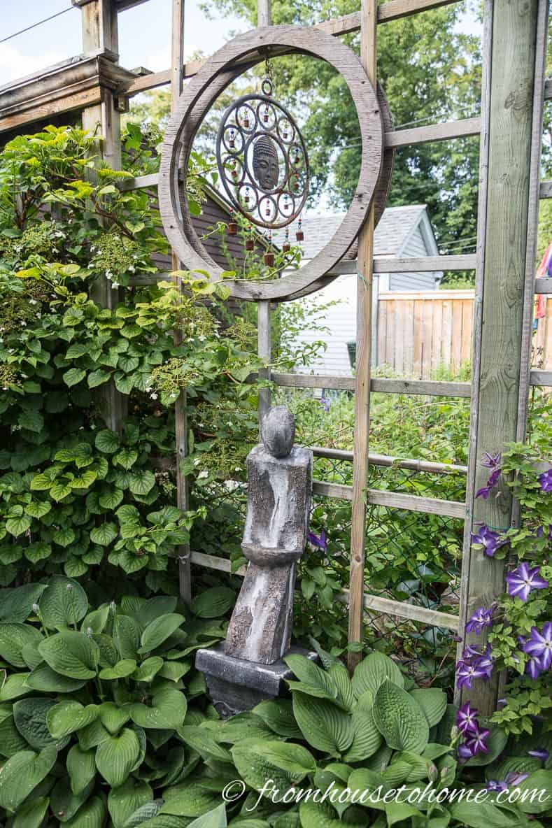 A pretty wind chime will add interest and sound to your garden