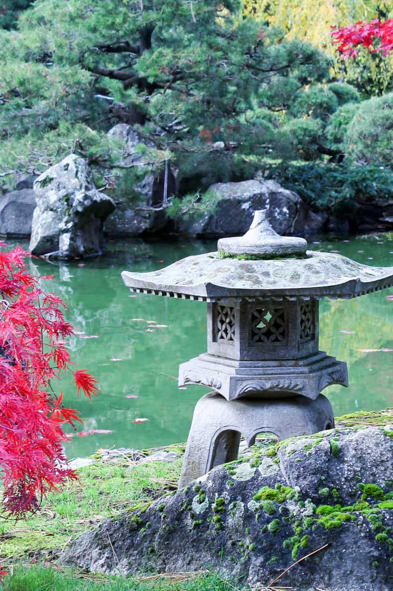 Stone temple in a Japanese garden