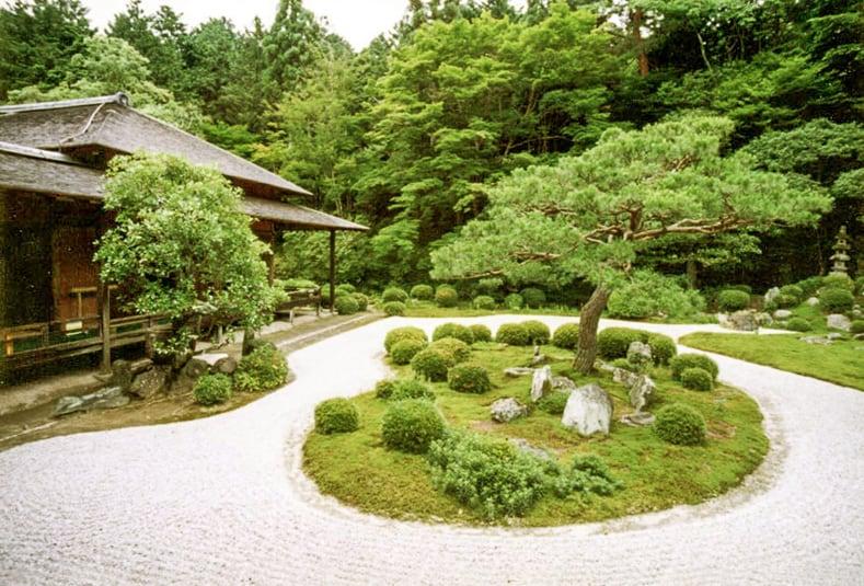 Japanese garden island at Manshu in, via zen-garden.org