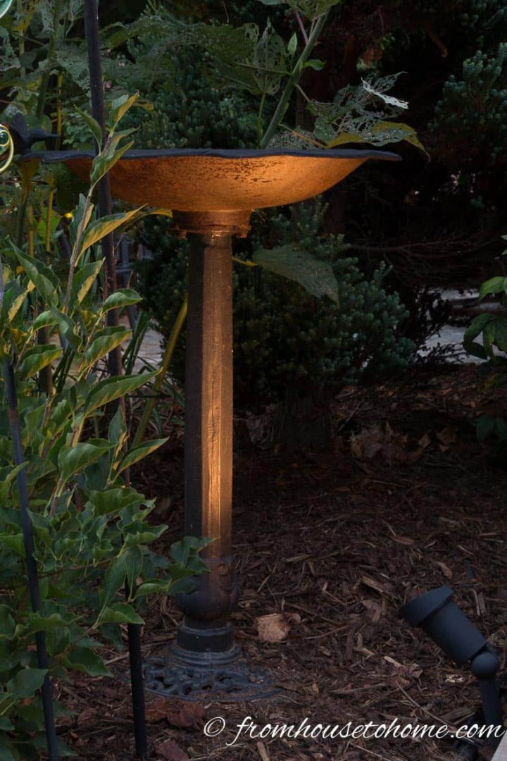Landscape lighting on a birdbath