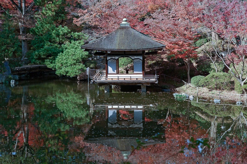 Japanese tea house over water, via commons.wikimedia.org