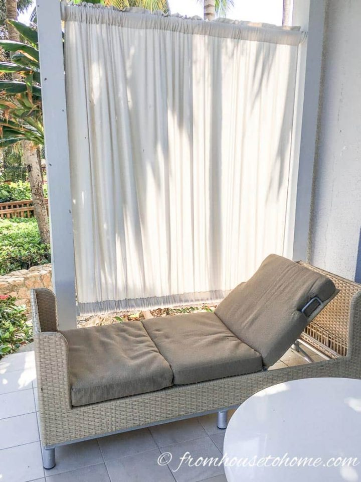Ground floor patio at the Hilton Rose Hall in Jamaica with a fabric privacy wall