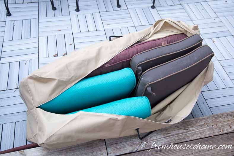 Cushions in a storage bag