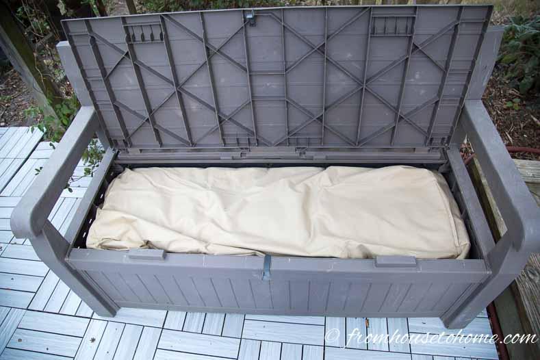 Cushion storage bag inside storage bench