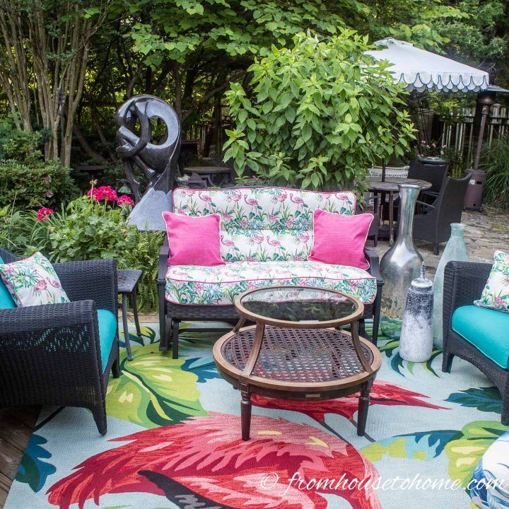 A small outdoor sofa works well on a small patio