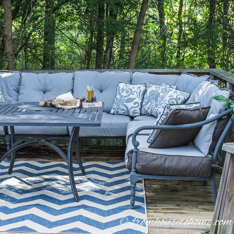 An outdoor sectional makes great use of space on a small deck