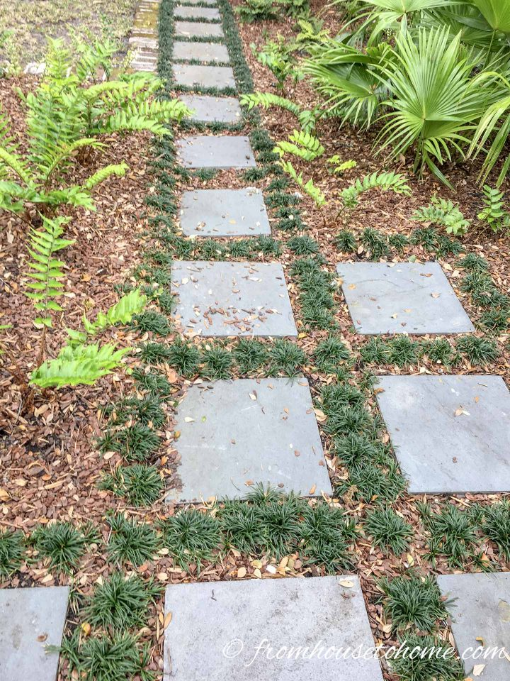 Concrete stepping stones with mulch and grass between them