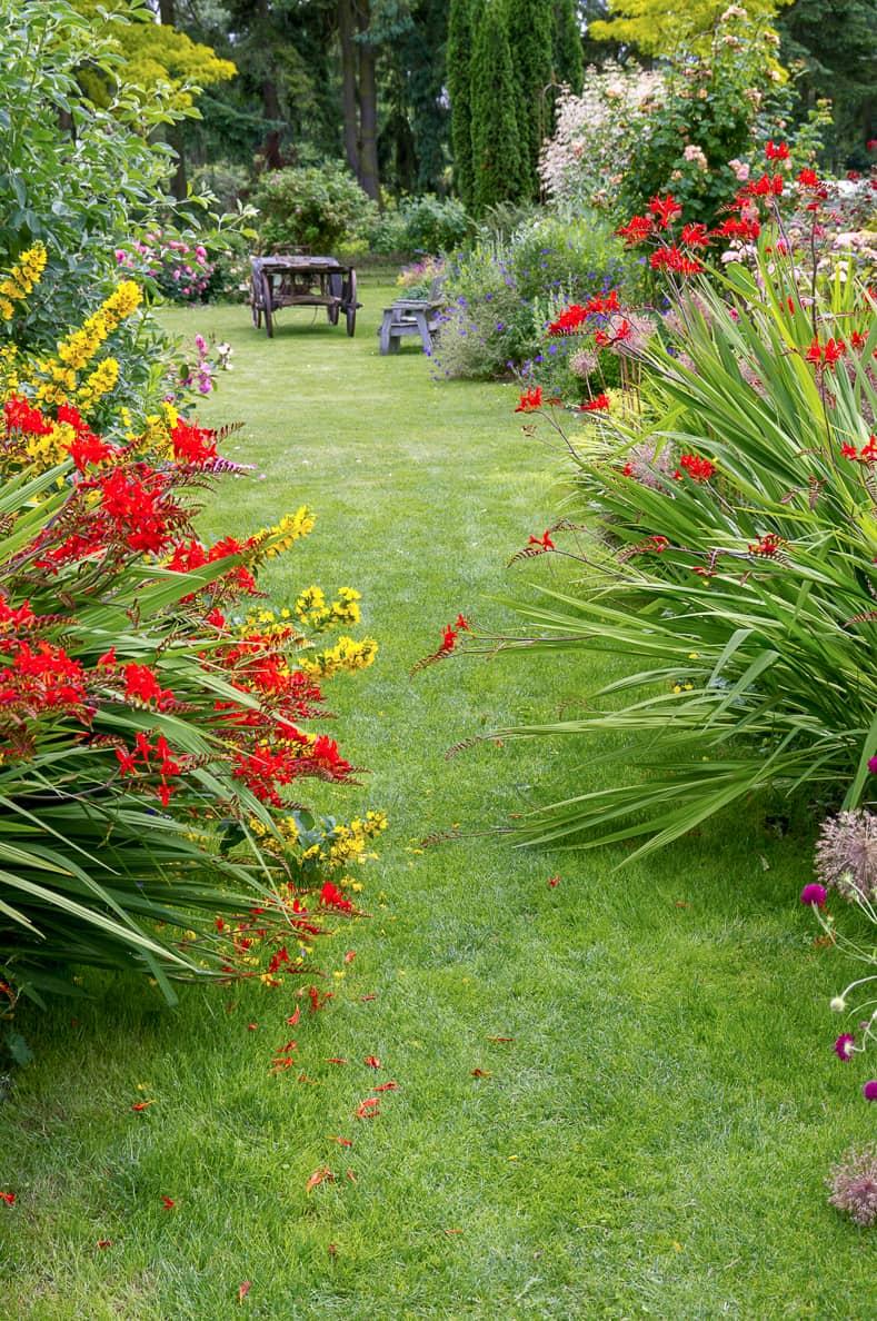 Grass garden path with flowers | © John A Trax Jr - stock.adobe.com