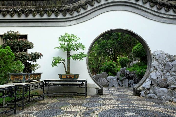 Moon gate in Japanese garden