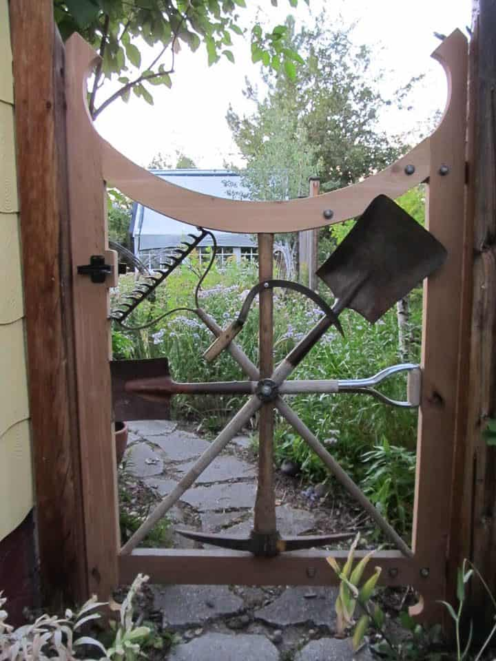 Garden gate made from garden tools