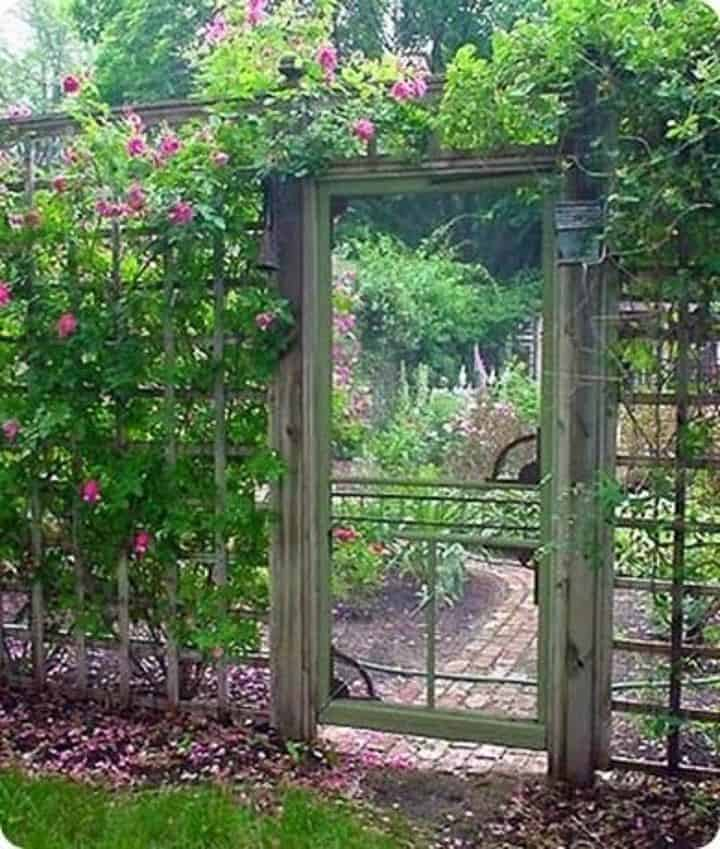 Screen door as garden gate
