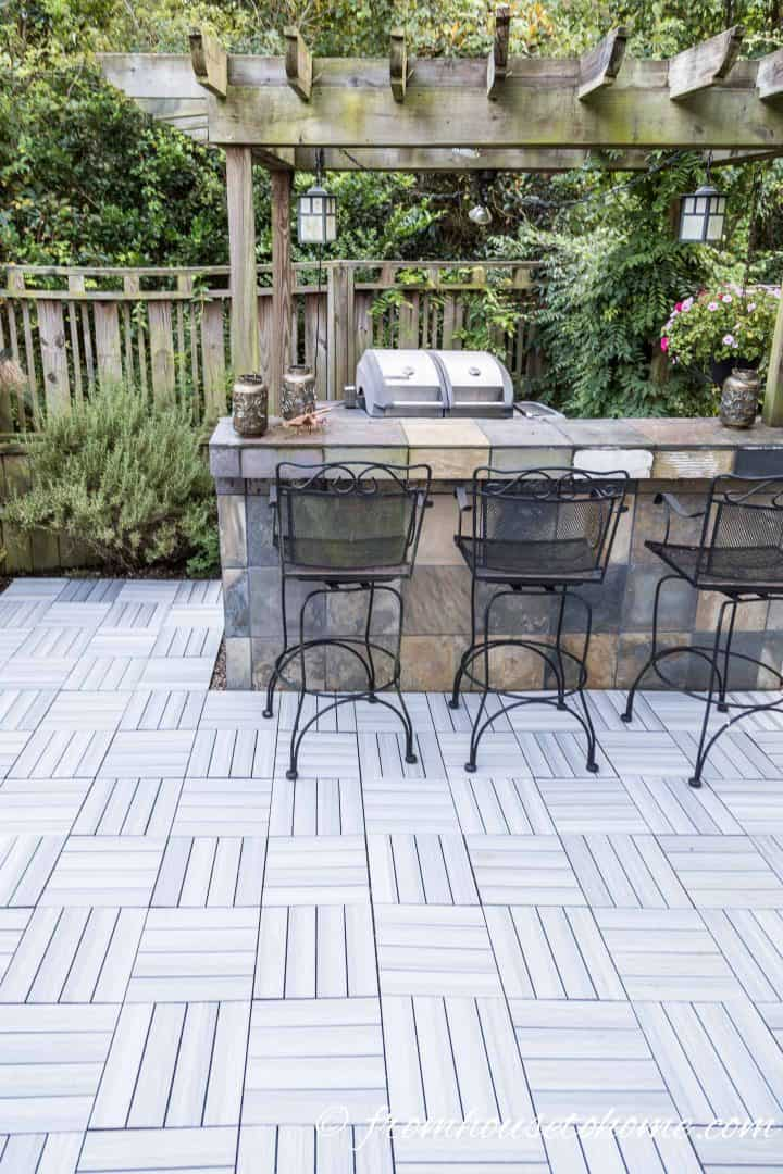 DIY patio made from composite deck tiles
