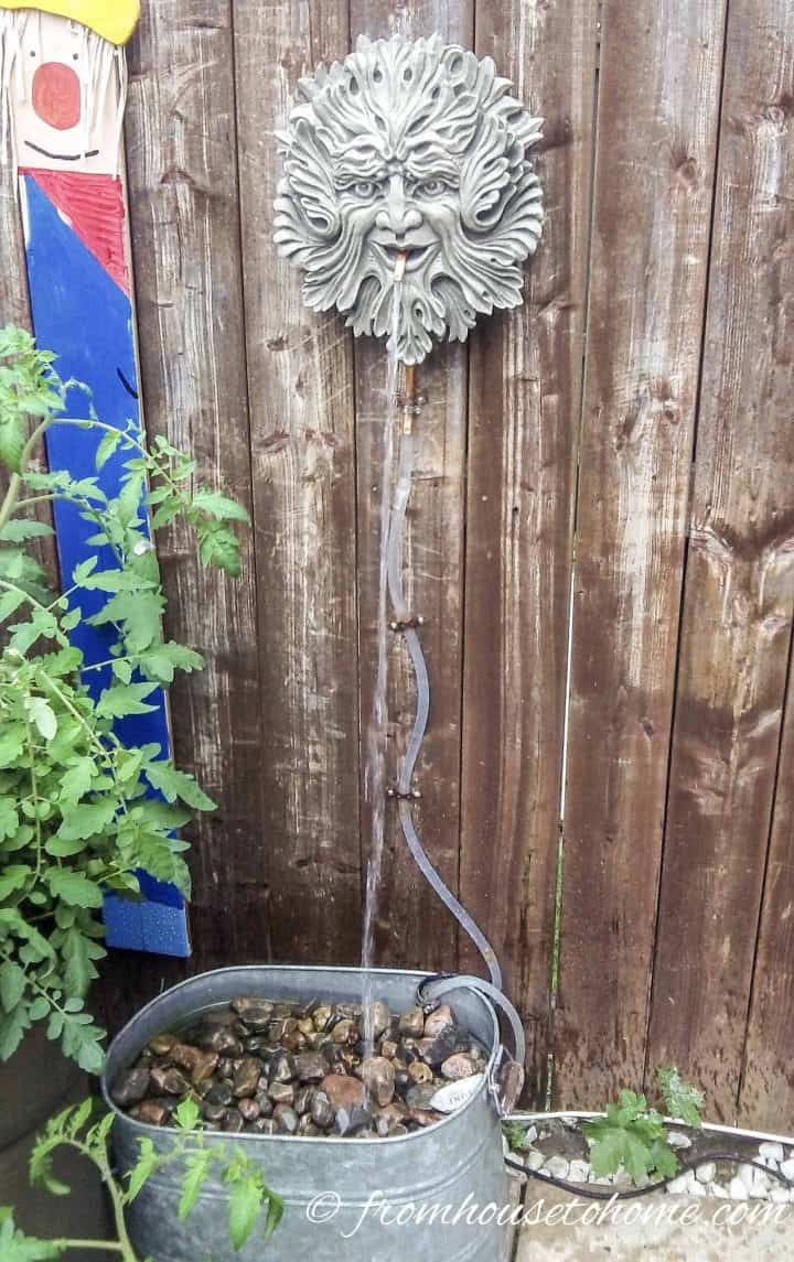 DIY fountain with galvanized pail