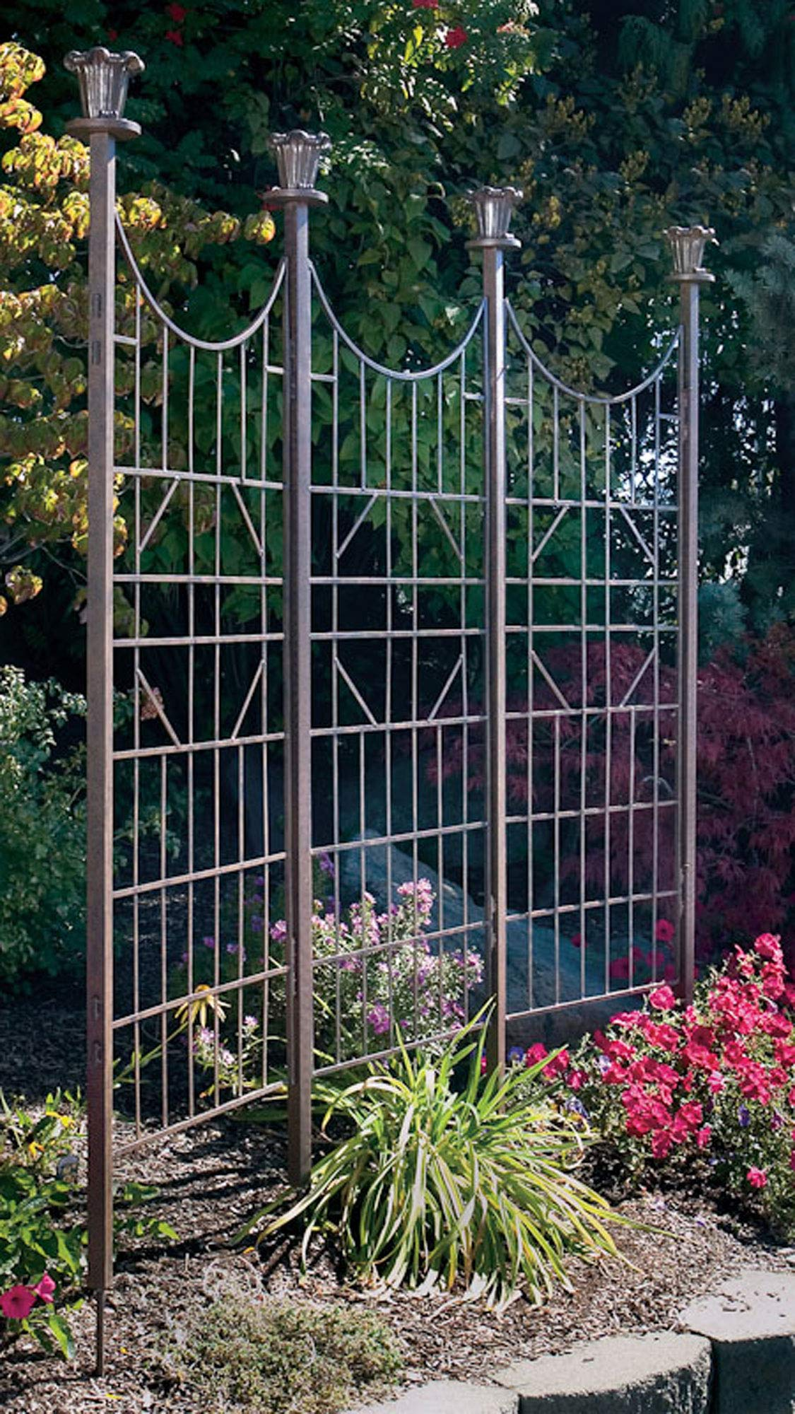 Wrought iron trellis privacy screen