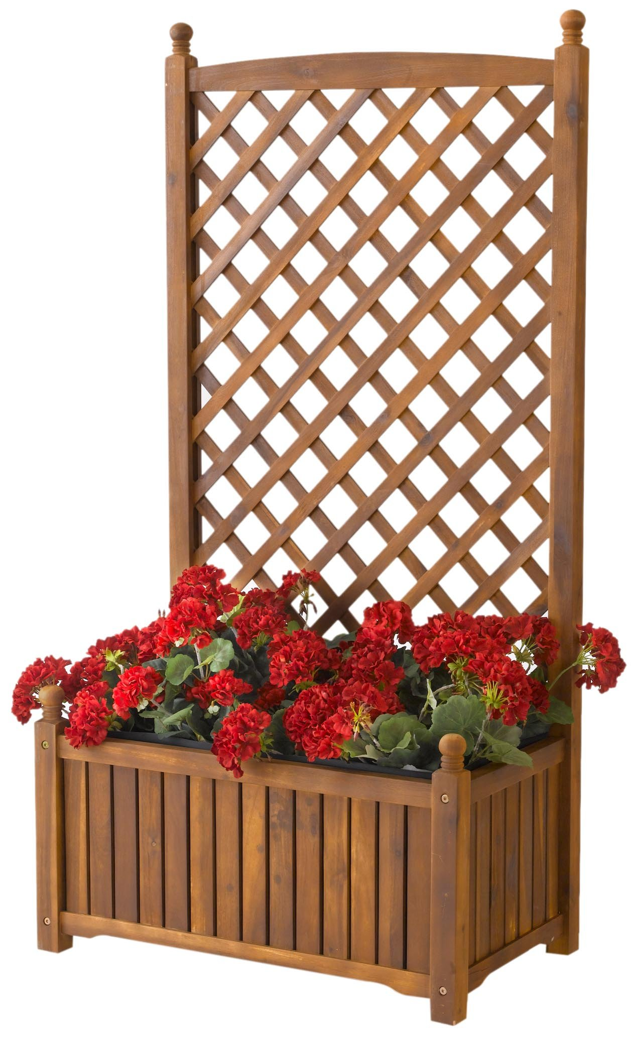 Wood planter trellis privacy screen