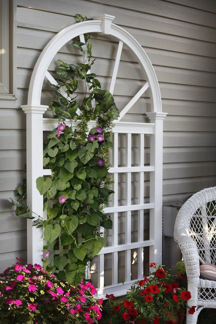 White arched lattice privacy trellis