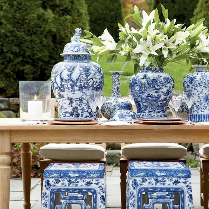 Blue and white outdoor tablescape, via Martha Stewart