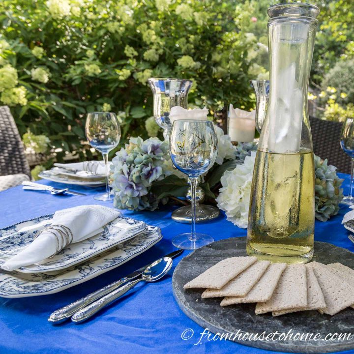Blue and white outdoor table setting