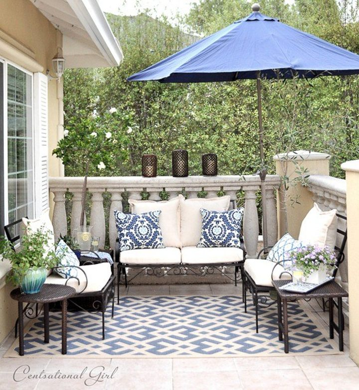 Blue and white patio from Centsational Style