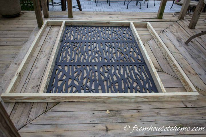 The decorative DIY outdoor privacy screen laid out before construction