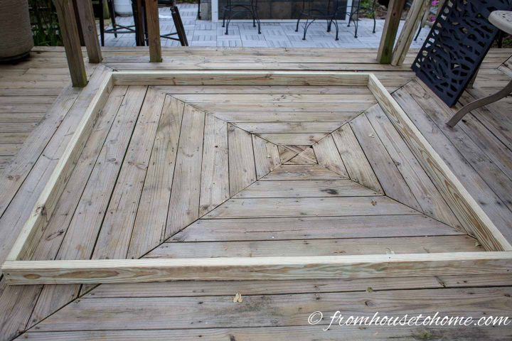 "The outer frame for the decorative DIY outdoor privacy screen made from 2"" x 4"" boards"