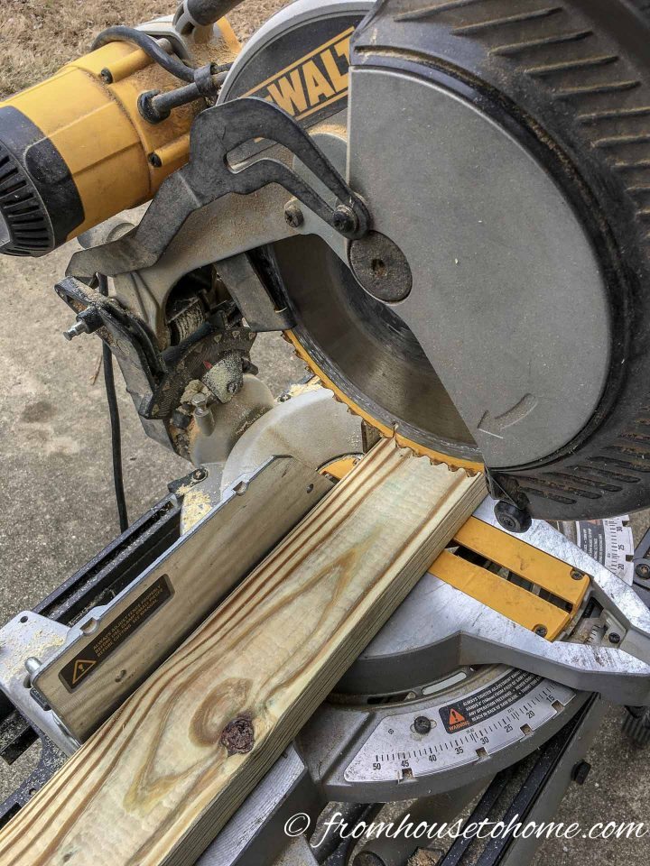 Miter saw cutting boards for the privacy screen frame