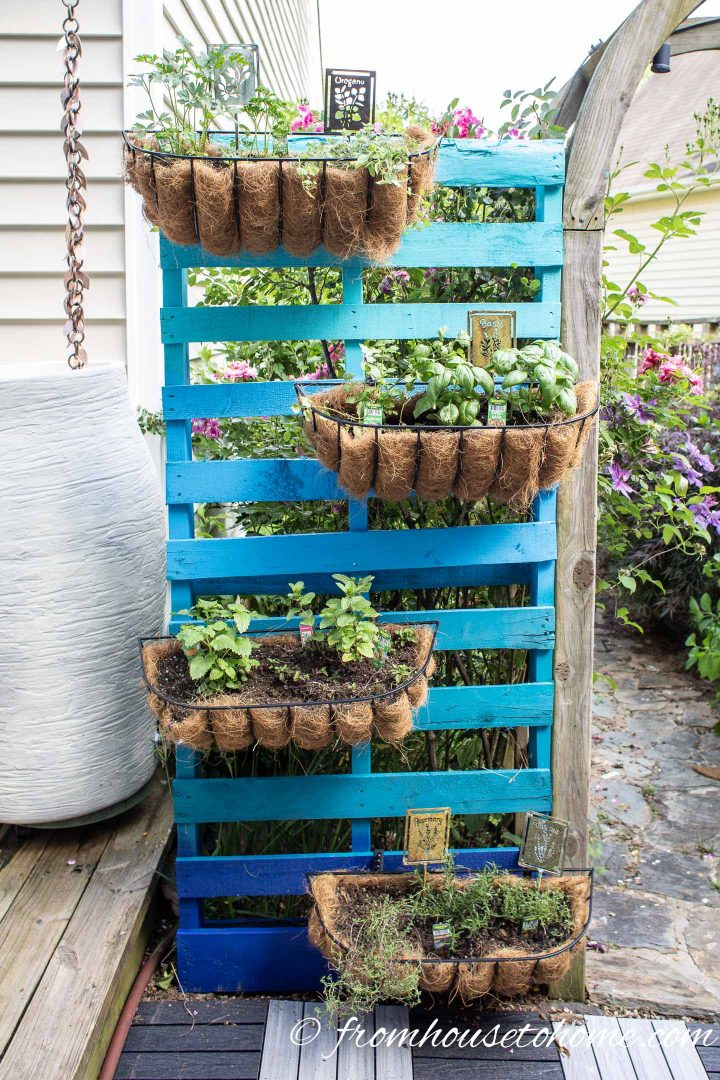 Ombre blue DIY vertical herb garden with window boxes